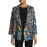 Caroline RoseEasy-Fitting Fantasia Saturday Topper Jacket, Black/Multi, Petite