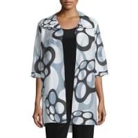 Caroline RoseFloating Bubbles Open-Front Jacket, White/Black, Plus Size