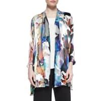 Caroline RoseHand-Painted Silk-Blend Devore Cardigan, Plus Size