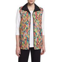 Caroline RoseRain or Shine Mosaic-Print Vest, Petite