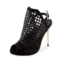 CarranoGenesis Caged Peep-Toe Pump, Black