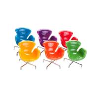 Carro de MolaConjunto 6 Miniaturas de Cadeiras Coloridas - 14x11 cm
