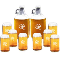 Carved SolutionsPersonalized Heart Clover Growler & Beer Glasses Gift SetCan Shaped Glasses