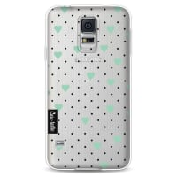 CasetasticSoftcover Samsung Galaxy S5 - Pin Point Hearts Mint Transparent