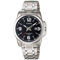 CasioWomens Ltp1314D-1Av Silver Stainless-Steel Quartz Watch With Black Dial