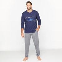 CastalunaPyjama, bedruckt, Henley-Ausschnitt