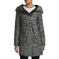 Catherine MalandrinoAsymmetric Belted Tweed Coat, Black/White