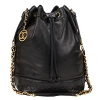 Chanel1990s Chanel Black Quilted Lambskin Vintage Bucket Bag