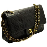 Chanel2.55 Double Flap 10 Chain Shoulder Bag Black Quilted Lamb