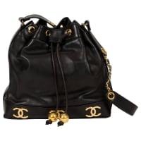 ChanelBlack Lambskin Logo Leather Bucket Bag