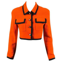CHANEL BOUTIQUEOrange Black Wool Trimmed cc Button Up Cropped Ls Jacket Sz 36