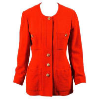 CHANEL BOUTIQUEVintage Chanel Boutique Red Gold cc Buttoned Tweed Jacket Sz 40
