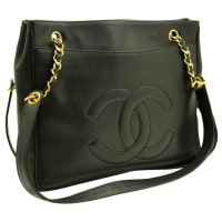 ChanelCaviar Large Chain Shoulder Bag Black Leather Office Gold
