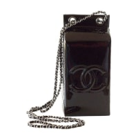 ChanelLimited Edition Black Patent Leather Chanel Milk Carton Bottle Cross Body Bag