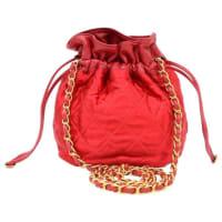 ChanelRare Vintage Red Leather Satin Gold Hw Bucket Evening Shoulder Bag
