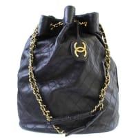 ChanelVintage Black Lambskin Jumbo Bucket Weekender Travel Shoulder Chain Bag