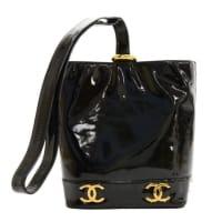 ChanelVintage Chanel Black Patent Leather Shoulder Bucket Bag