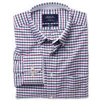 CHARLES TYRWHITTSlim fit navy and berry tattersall washed Oxford shirt