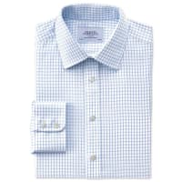 CHARLES TYRWHITTSlim fit non-iron windowpane check sky blue shirt