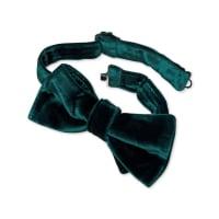 CHARLES TYRWHITTGreen velvet ready-tied bow tie