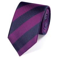 CHARLES TYRWHITTNavy and pink silk block stripe classic tie