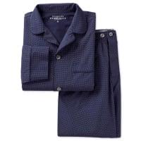 CHARLES TYRWHITTPyjama-Set aus Baumwolle in marineblau mit Punkten