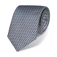 CHARLES TYRWHITTLuxuriöse englische Seidenkrawatte in silbergrau und marineblau mit geometrischem Design
