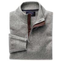 CHARLES TYRWHITTKaschmir Pullover mit Reißverschlusskragen in silber