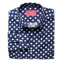 CHARLES TYRWHITTSlim Fit Bluse aus Popeline in marineblau und weiß mit Punkten