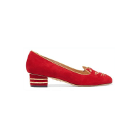 Charlotte OlympiaKitty Embroidered Suede Pumps - IT35.5