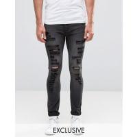 Cheap MondayTight Slash Jeans Stretch Base Grey Extreme Rips - Grey