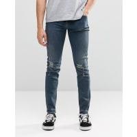 Cheap MondayTight Skinny Jeans Stone Tint Knee Rips - Blue