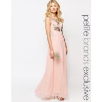 Chi Chi LondonChi-Chi London Petite - Maxi robe à imprimé floral fendue jusquà la cuisse - Rose
