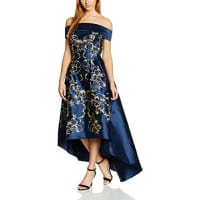 Chi Chi LondonDamen Kleid Embroidered Bardot Dip-Hem