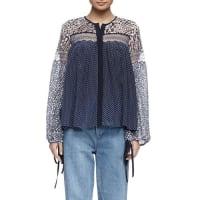 ChloéLong-Sleeve Lace Mixed-Print Blouse, Navy