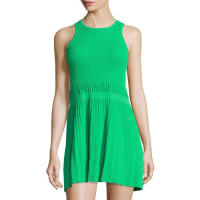 See By ChloéSleeveless Ribbed-Knit Pleated Dress, Green