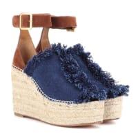 ChloéWedge-Sandalen aus Leder und Denim