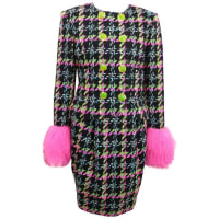 Christian LacroixDouble Breasted Houndstooth Tweed Wool Suit And Skirt Ensemble