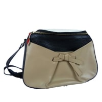 Christian LouboutinBlack And Beige Leather Crossbody Bag