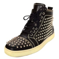 Christian LouboutinBlack Leather Louis Spike High-top Studded Sneakers Sz 41