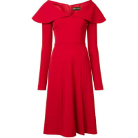 Christian Sirianocap shoulder dress, Womens, Size: 6, Red, Polyester