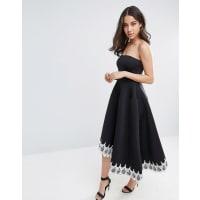 City GoddessBandeau Asymetric Dress With Lace Trim - Black