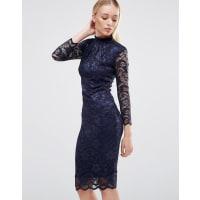 City GoddessHigh Neck Lace Midi Dress With 3/4 Sleeves - Navy