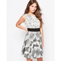 ClosetCloset Flared Dress In Contrast Monochrome Print - Black