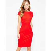 ClosetCloset - Vestito longuette con maniche ad aletta arricciate - Rosso