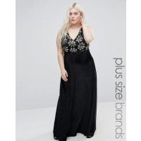 Club LFloral Plus Velvet Maxi Dress With Sequin Top - Black