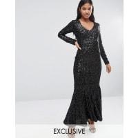 Club LV Front Velvet Sequin Maxi Dress with Fishtail - Black