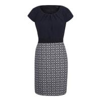 CommaKleid mit gemustertem Rockteil blau / weiß