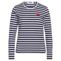 Comme Des GarçonsBlaues T-Shirt Play by Comme de Garcon mit weissen Streifen
