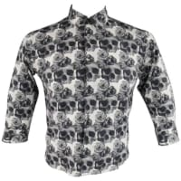 Comme Des GarçonsComme Des Garcons Mens S Black & White Skull & Roses Cropped Sleeve Shirt